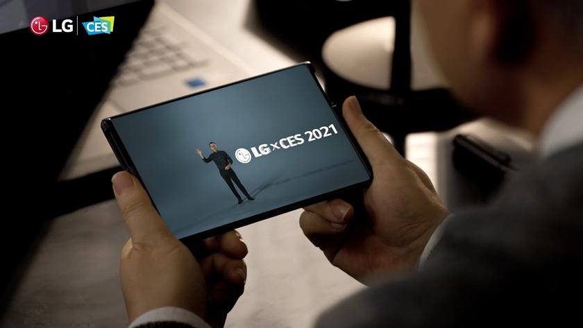 사진은 LG 프레스 콘퍼런스에서 'LG 롤러블'이 나오는 장면.