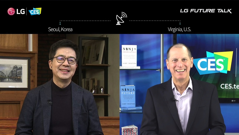 LG전자가 美 동부시간 12일 세계 최대 가전·IT 전시회 'CES 2021'에서 '함께 만드는 혁신'을 주제로 'LG 미래기술대담'을 진행했다. LG전자 CTO 박일평 사장(왼쪽)과 CTA(미국소비자기술협회) CEO 게리 샤피로(Gary Shapiro)가 대화를 나누고 있다.