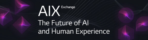 Banner for the AIX Exchange's digital report titled 'The Future of AI and Human Experience